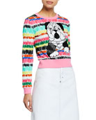 Escada Sport Long-Sleeve Cropped Sequin Bulldog Sweater