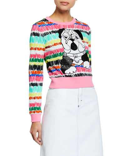 Long-Sleeve Cropped Sequin Bulldog Sweater