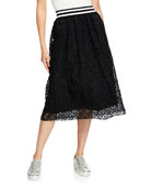 Escada Sport Striped-Waist Lace Skirt