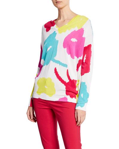 V-Neck Abstract Daisy-Print Sweater