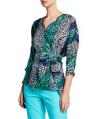 Escada Colorblocked Striped Daisy-Print Blouse