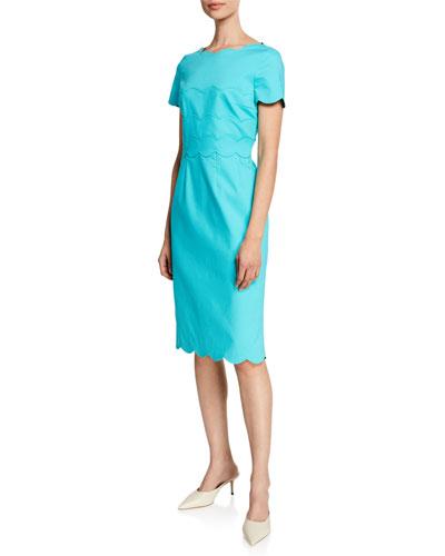 Scalloped Short-Sleeve Detail Dress