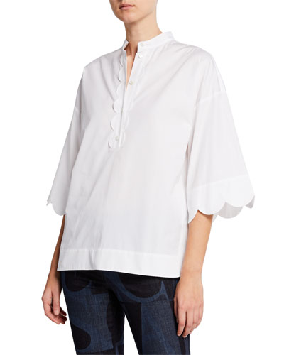 Scalloped Placket Cotton Tunic