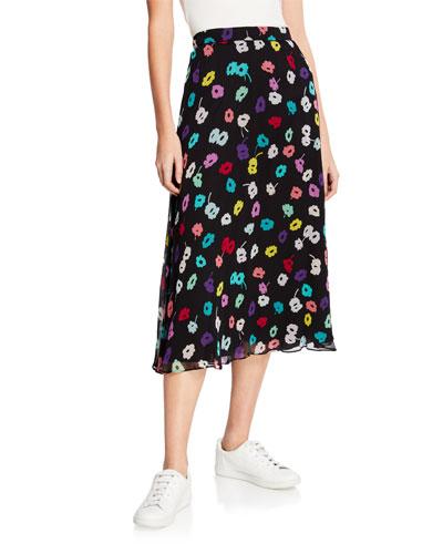 Daisy-Print Crepe Midi Skirt