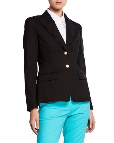 Scalloped-Lapel Cotton Blazer