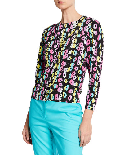 Daisy-Print V-Neck Button-Front Cardigan