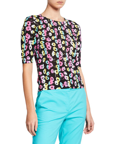 Daisy-Print 1/2-Sleeve Top