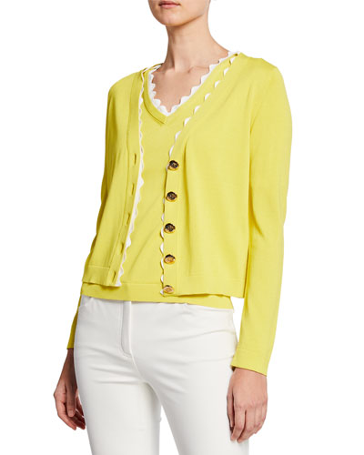 V-Neck Scalloped Cotton Cardigan
