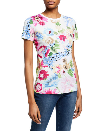 Short-Sleeve Garden Floral-Print Tee