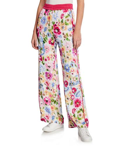 Garden Floral-Print Athletic Pants