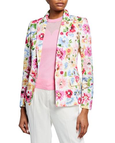 Garden Floral-Print Jacket