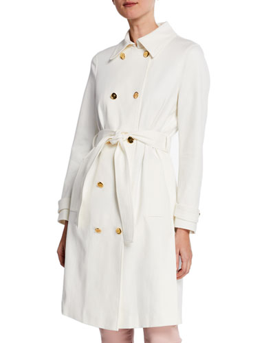 Stretch Cotton Twill Trench Coat