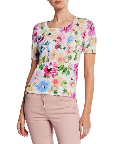 Garden Floral-Print Short-Sleeve Shirt