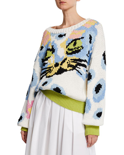 Hand Knit Cat Face Sweater