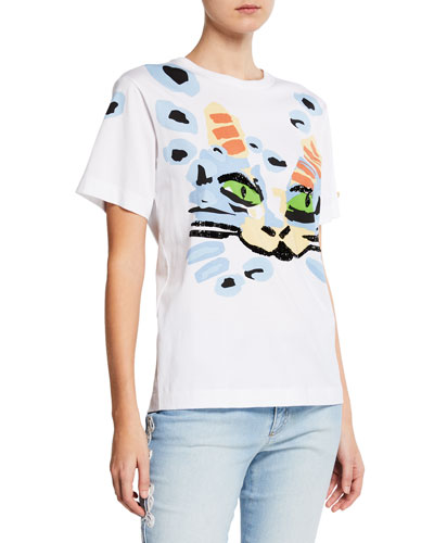 Sequin Cat-Print Cotton Tee