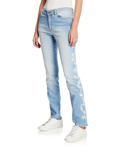 Straight Leg Embroidered Side Jeans