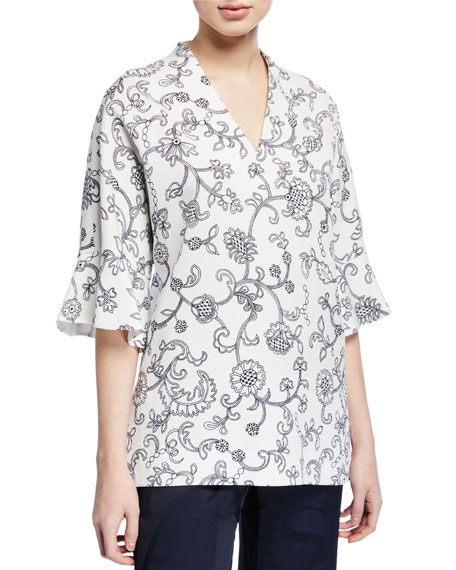 Escada V Neck Floral Lace Print Tunic