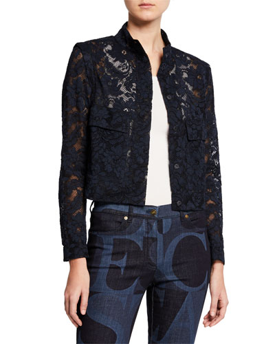 Cropped Bow-Neck Lace Jacket