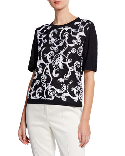 Ribbon-Embroidered Short-Sleeve Pullover