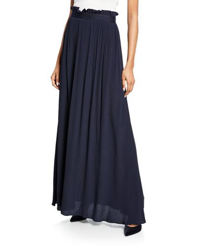 Crinkled Crepe Maxi Skirt