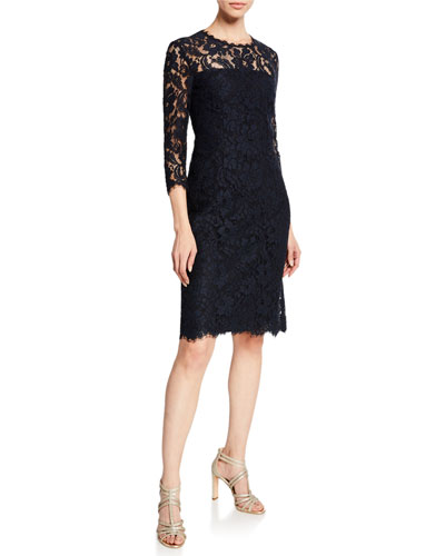 3/4-Sleeve Lace Illusion Dress