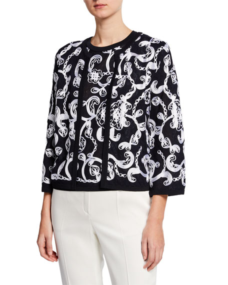 Escada Ribbon-Embroidered Open-Front Cardigan