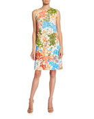 Escada Dinisa Leaf-Print Sleeveless Dress
