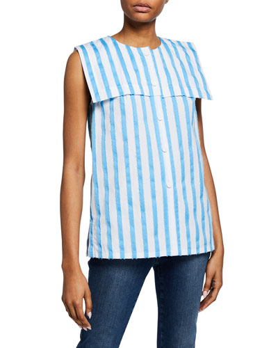 Striped Sleeveless Raw-Edge Sailor Shirt