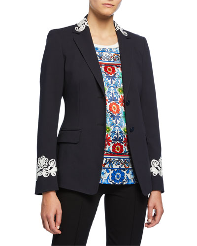 Ribbon-Embroidered Stretch Cotton Blazer