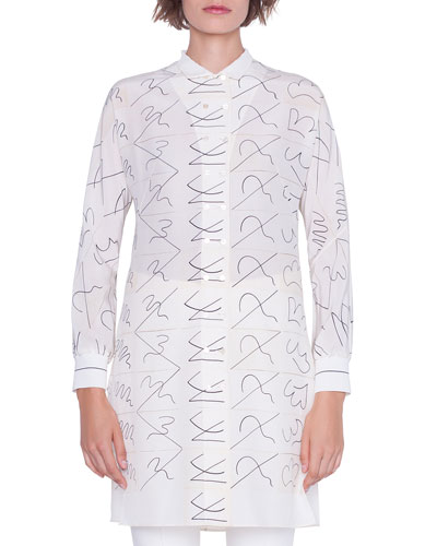 Long Double-Breasted Leporello Print Tunic Blouse