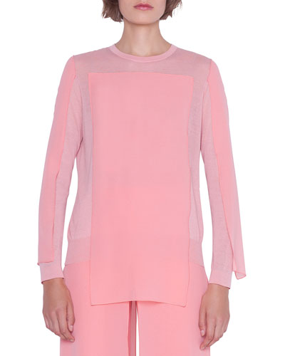 Long-Sleeve Knit Georgette Pullover