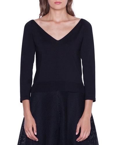Cropped Stretch-Silk V-Neck Sweater