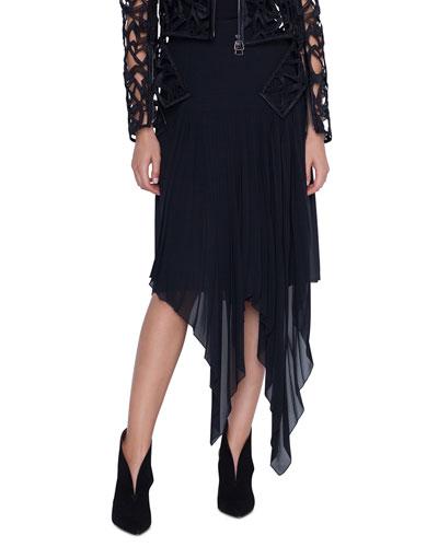 Long Asymmetric Hem Chiffon Skirt