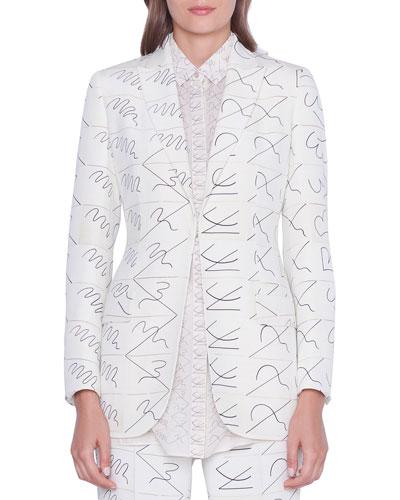 Amarina Leporello Print Long Silk Jacket
