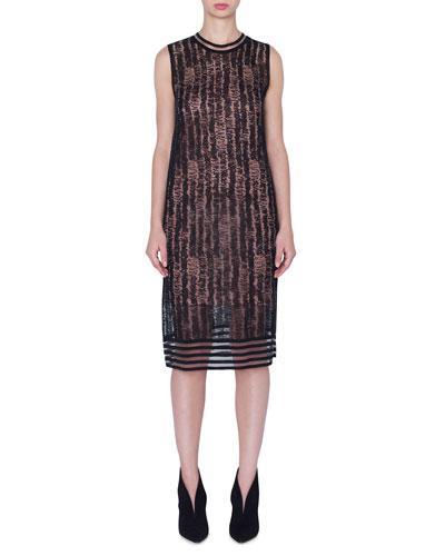 Sleeveless Scribble Linen-Silk Knit Dress