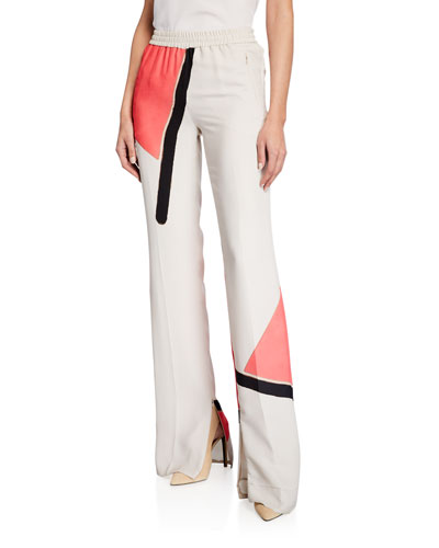 Carrel Linia-Print Silk Crepe Pants