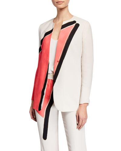 Antea Linia-Print Silk Crepe Jacket