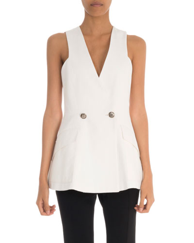 Sleeveless V-Neck Logo-Button Peplum Top