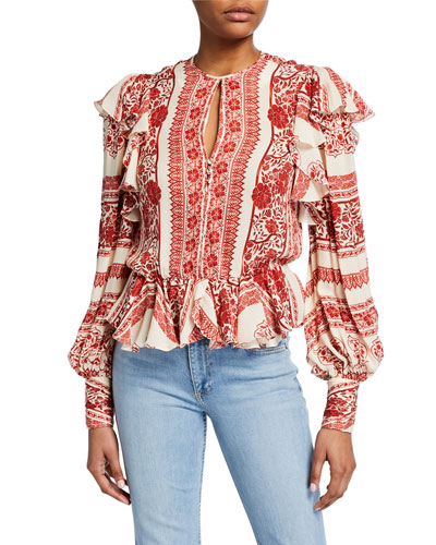 Zen of the Soul Floral Striped Ruffled Crewneck Peasant Blouse