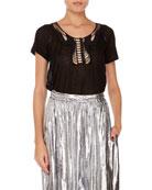Isabel Marant Masta Cap-Sleeve Crochet T-Shirt and Matching