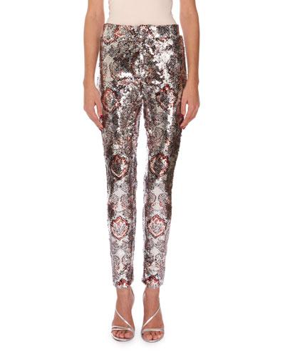 Odizo Allover-Print Sequin Pants