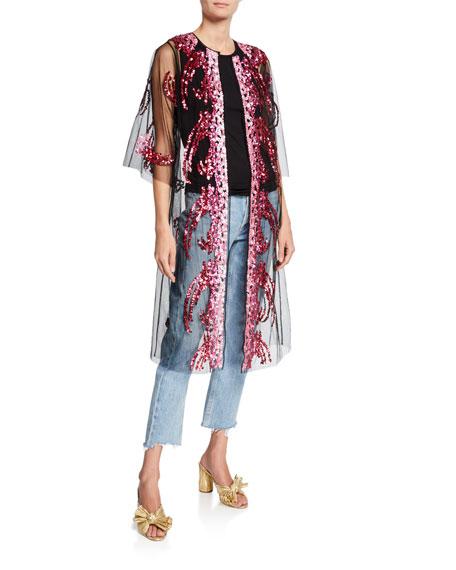 Libertine Sequin Tulle Robe Coat, Pink