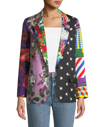 Mixed Print Long Blazer Jacket