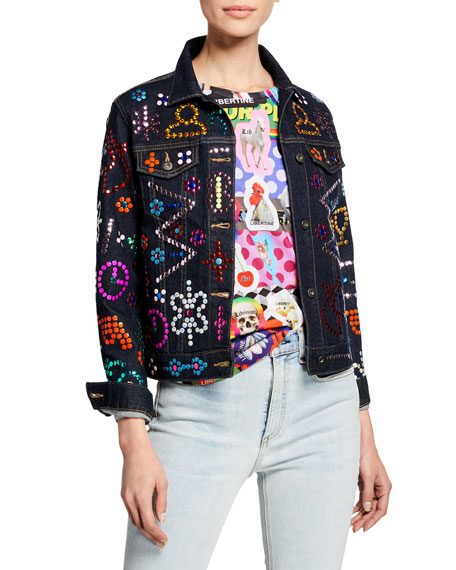 Libertine Strauss Symbol-Studded Denim Jacket
