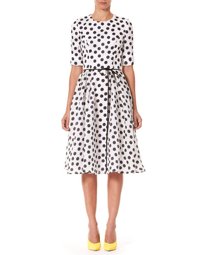 Polka-Dot Fit & Flare Midi Dress