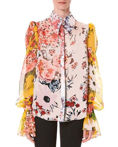 Flared-Cuff Floral-Print Chiffon Button-Front Shirt
