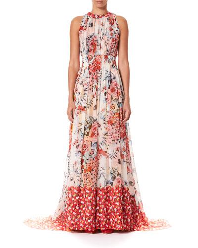 ec555d1a42a2 Quick Look. Carolina Herrera · Floral-Print Gathered Silk Floor Gown