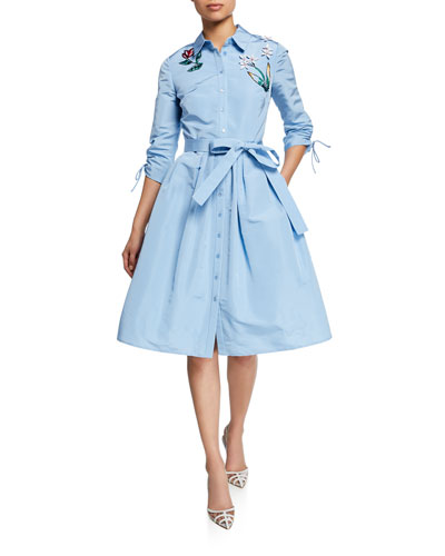 Floral-Embroidered Ruched-Sleeve Belted Shirtdress