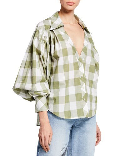 French Inhale Blouson Sleeve Plaid Button-Front Top