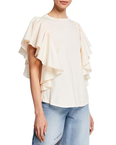 Armonica Crewneck Short-Sleeve Jersey Ruffle Top
